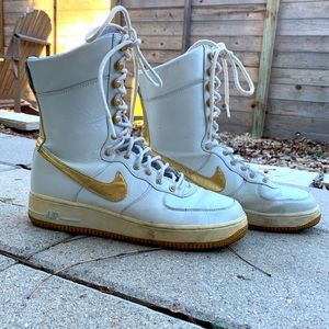 Nike Air Ultra High Top Sneakers in White and Gold